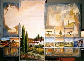110x140cm, Collage Acryl auf Leinwand