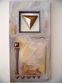 60x90cm, Objekt Acryl auf Leinwand