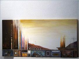 80x150cm, Collage Acryl auf Leinwand