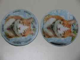 クロム鞣し白にペット画像プリント ネコ