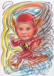 """детский шарж """"Человек-метеор. Молния"""""""