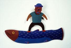 """Fish Man 1985, 13 x 20 x 2"""""""