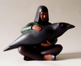 "Crow Girl, 2000, 10 x 13 x 7"""