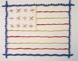 Flag Over Chicago, 1982, 31 x 25 x 2""