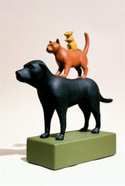 """Dog, Cat Rat, 2000, 9 x 8 x 5"""""""