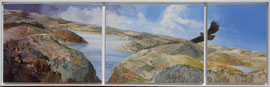 Barragem Santa Clara a Velha - acryl and sand on canvas - 133 x 40 cm