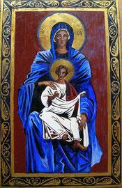 Ikone Maria mit Kind I , Eitempera auf Holz, 24 K Vergoldet, 19 x 30.5 cm,SFr. 350.-