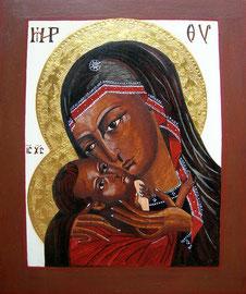 Ikone Maria mit Kind II, Eitempera auf Holz, 24 K Vergoldet, 36cm x 30cm,SFr. 550.-
