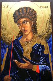 Ikone Erzengel Gabriel, Eitempera auf Holz, 24 K Vergoldet,  : 50cm x 30.5cm, SFr. 890.-