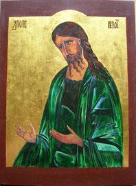 Ikone Johannes der Täufer, Eitempera auf Holz, 24 K Vergoldet, 40.5cm x 30cm, SFr. 550.-