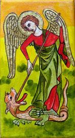 Engel Michael, auf Leinwand, echt vergoldet, 10x18cm SFr. 95.-