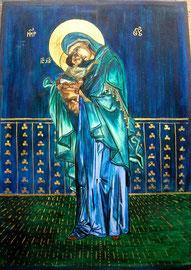 Ikone Maria mit Kind III, Eitempera auf Holz, 24 K Vergoldet, 50cm x 35cm, SFr. 550.-