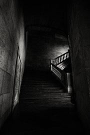 noir et blanc digital L'escalier l'Alhambra Espagne