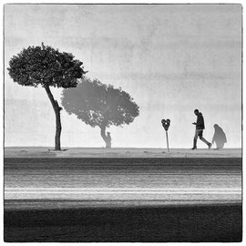Walk in LA /noir et blanc digital