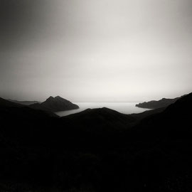 Corsica golfe de Valinco photo noir et Blanc digital