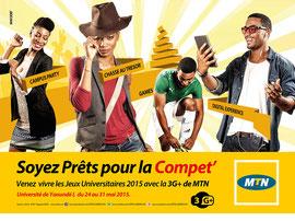 Campagne: Jeux Universitaires 2015, Directeur artistique: Bibi benzo, Photographe: Zacharie Ngnogue, Agence: MW DDB, Client: MTN CAMEROON