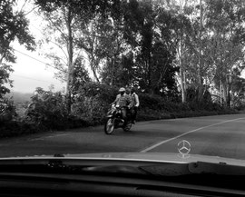 Motocycle on the highway. Phonephotography by Chantal Edie