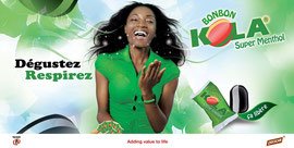 """Campagne: Lancement bonbon """"kola super menthol"""", Directeur artistique: JC Wafo, Photographe: Zacharie Ngnogue, Agence: Océan ogilvy, Client: Chococam"""