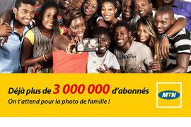Campagne: 3 000 000 d'abonnées, Directeur artistique: Bibi benzo, Photographe: Zacharie Ngnogue, Agence: MW DDB, Client: MTN Guinnée