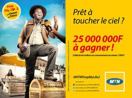 Campagne: MTN pimp my life, Directeur artistique: Bibi benzo, Photographe: Zacharie Ngnogue, Agence: MW DDB, Client: MTN CAMEROON