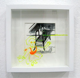 >>o. T.<<, Ink, Glass Color and Paper on glass, in glass, Frame 25 x 25 cm, 2013