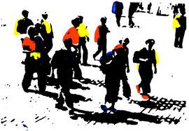 >>o.T.<<, Linoleum Print on Paper, 37,5 x 24 cm, 2009