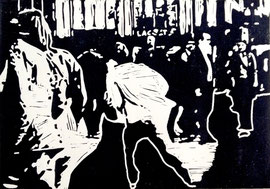 >>o.T.<<, Linoleum Print on Paper, 30 x 21 cm, 2009