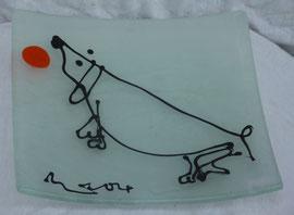 Glasteller mit Dackel