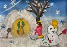 銀賞「大きなかまくらと雪だるま」金子 瑞希