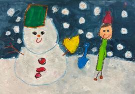 銀賞「雪だるまと友達」小倉 一馬