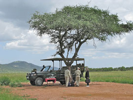 Tanzania, Klein's Camp: our guides, Moisanga and Malley, greet Bryce at the airstrip and offer us a picnic