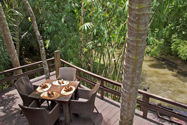 Bali, Mambal: riverside restaurant at Five Elements spa