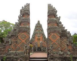 Bali, Batuan: entrances to the Pura Desa Puseh temple. The split outer one symbolizes the division between the material and spiritual worlds