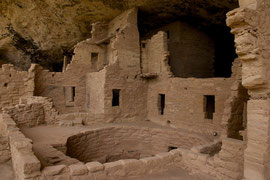Mesa Verde, Colorado: Spruce Tree House with a kiva in foreground