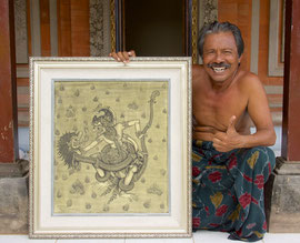 Master painter and mask maker, Dewa Gede Mandra, with a painting of Hanoman fighting the Naga (begun by his father & completed by him)
