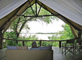 Tanzania, Selous game reserve: looking out over the Rufiji river from our cottage/tent at Sand Rivers camp