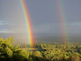 Looking towards the Taconic Hills with a double rainbow (Sept. 2010)