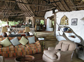 Tanzania, Selous game reserve: the communal living-room at Sand Rivers camp