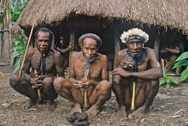 W. Papua, Baliem Valley: three Dani war leaders (Kurulu, chief of Jiwika, on right, and Heakoi, chief of Wasi'ala in centre )