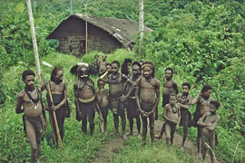 PNG, Nomad River: Biami men and boys in front of their longhouse at Waribi