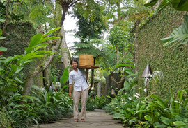 Bali, Ubud: waitress carrying a food tray, Villa Kayumanis