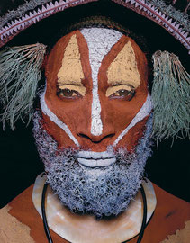 PNG, Southern Highlands, Huli tribe: a man from the Ialuba area