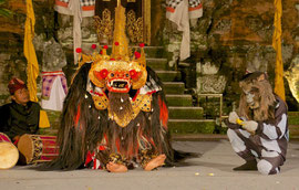 Bali, Puri Agung Peliatan Palace, Gunung Sari dance group. Depicting the battle between the benevolent forest-dwelling Barong and Rangda, a witch living in the ocean