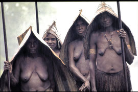 W. Papua, Asmat: women of Basim village wearing pandanus-leaf raincapes