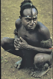 PNG, E. Sepik Province: a man from Wameimin hamlet with cassowary quills in his nostrils