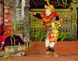 Bali, Batuan Gianyar dance group: dancer wearing a Topeng Tua Luh mask