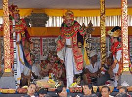 Bali, Ubud: Topeng dancers at the Odalan ceremony at Pura Dalem Kedewatan temple