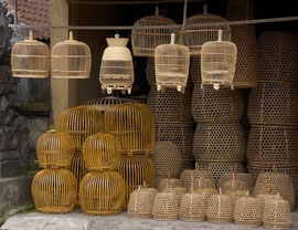Bali, Mas: a basket shop selling rooster and bird cages
