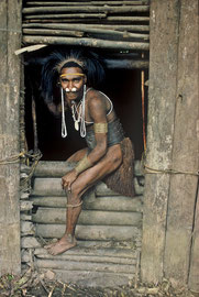PNG, Nomad River: the Biami of Waribi longhouse protect themselves at night by sealing off the entrance with heavy logs laid horizontally