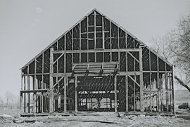 Dismantling the Deertz barn in 1988, after we purchased it